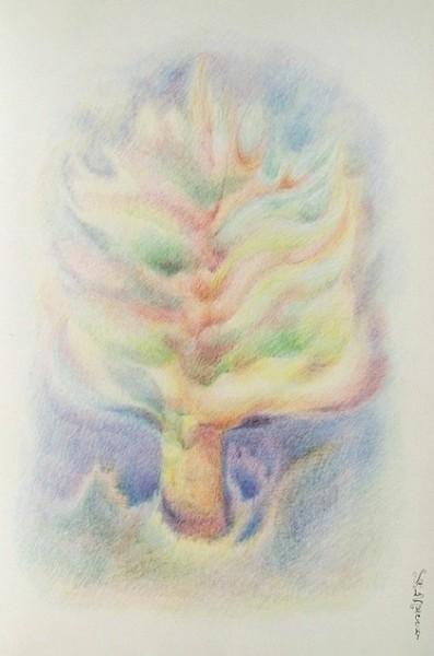 Arte psichica-crescita ed espansione delle vitalità,1977-pastelli su carta cm. 50x35