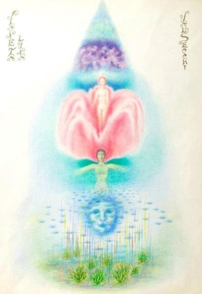 Luna (Impulsi artistici e capacità di vivere le istanze romantiche)-pastelli su carta cm.50x35
