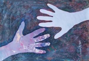 Poetica gestuale delle mani,2005-collage su carta cm.35x50