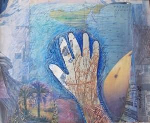 Poetica gestuale delle mani,2005-collage su carta cm.40x50