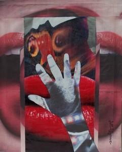 Poetica gestuale delle mani,2005-collage su carta cm.50x40