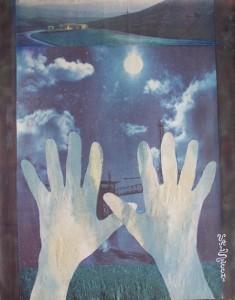 Poetica gestuale delle mani, 2005-collage su carta cm.50x35