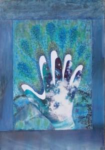 Poetica gestuale delle mani, 2005-collage su carta cm. 50x35