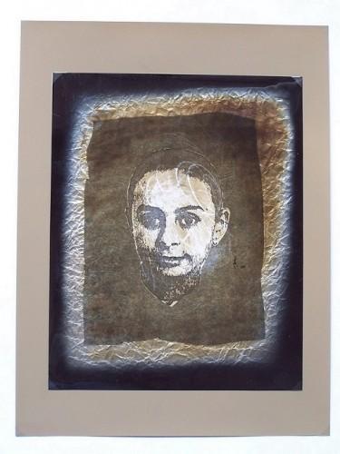Mutazione scrittura,1990 collage poliestere e carta cm. 50x35