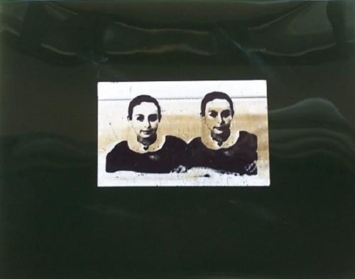 Mutazione scrittura, 1990 - collage poliestere e carta cm. 30x40