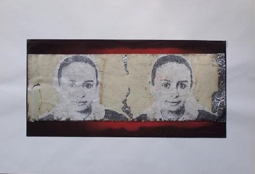 Mutazione scrittura, 1990 - collage poliestere e carta cm. 35x50