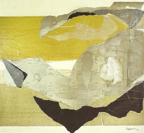 Situazioni, 1973-collage su tela cm. 100x110