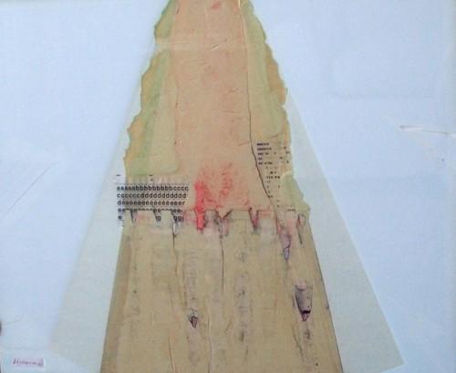 Stuazioni, 1972-collage su vetro cm. 51x61