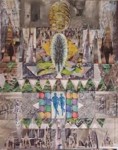 Arte psichica-dinamiche sociali,2012-collage su carta cm.50x40