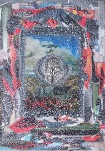 Arte psichica-scenografia dell'attualità psico-sociale,2006-collage su carta cm.50x35