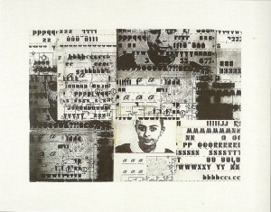 Mutazione scrittura,1982 - collage su tela cm. 100x120