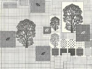 Mutazione scrittura, 1978 - collage su tela cm. 50x 70