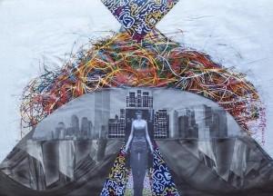 Socialità psichica-le scelte, 2000-collage su carta cm.22x30