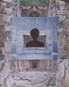 Specchio psichico sul sociale, 2010-collage su carta cm.50x40
